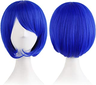 Mersi Women Costume Wigs Short Blue Bob Cosplay Wig with Bangs Girls Wigs with Wig Cap (Blue) S054