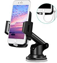 Amoner Car Phone Holder, Dashboard Windshield Universal Cell Phone Cradle Mount with Strong Suction Cup for iPhone X 8 7 6 6S Se 5S Samsung Galaxy S9 S8 S7 S6 S5 HTC LG Sony Nexus Motorola Nokia More