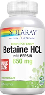 Solaray High Potency Betaine HCL with Pepsin 650 mg   Hydrochloric Acid Formula for Healthy Digestion Support   Lab Verifi...