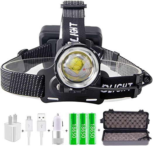 Lliang Headlamp 70000lumen Xhp-70.2 LED Headlamp Fishing Camping Headlamp Zoom Head Torch with USB in Out Flashlight Outdoor