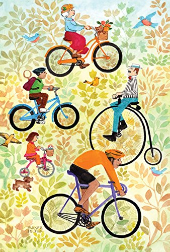Toland Home Garden Cyclists United 12,5 x 18 Zoll Deko Frühling Sommer Vogel Fahrradfahrt Garten Fahne