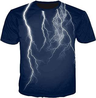Keepline Unisex Flash Casual T Shirt Lightening 3D Printed Cool Crew Neck Parkour Tees