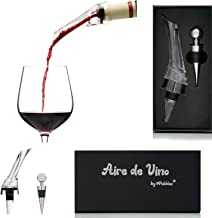 Aire de Vino - Wine Aerator - Premium Aerating Pourer Wine Decanter Spout - Enhance Wine Flavour - with Wine Bottle Stoppe...