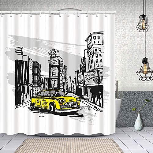 Cortina de Baño con 12 Ganchos,Cabina Amarilla Dibujada a Mano en Nueva York Street Cityscape American Urban Life Art,Cortina Ducha Tela Resistente al Agua para baño,bañera 180X180cm