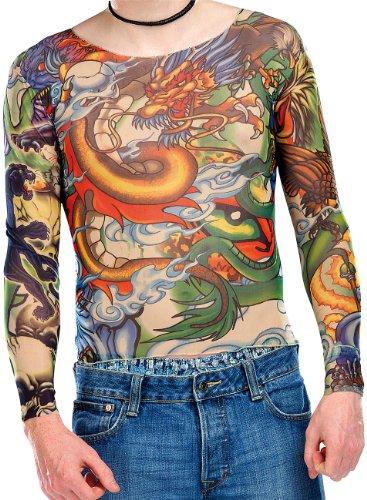 infactory Halloween T Shirt: Tattoo-Shirt Panther & Dragon (Tattoo Shirt Herren)