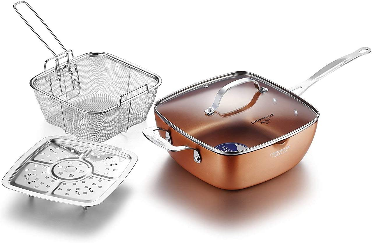 COOKSMARK Quantity limited Copper Luxury goods Pan 9.5-Inch Nonstick Deep Square Induction Fry