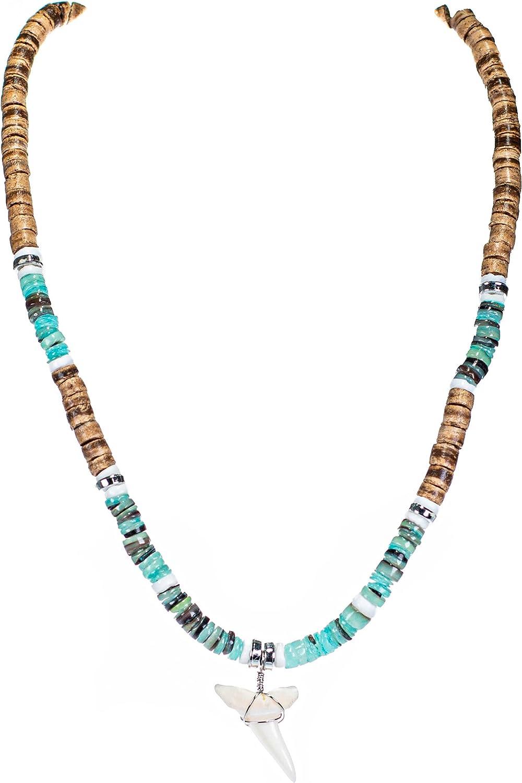 BlueRica High overseas order Mako Shark Tooth Pendant Coconut on Tiger Beads Green