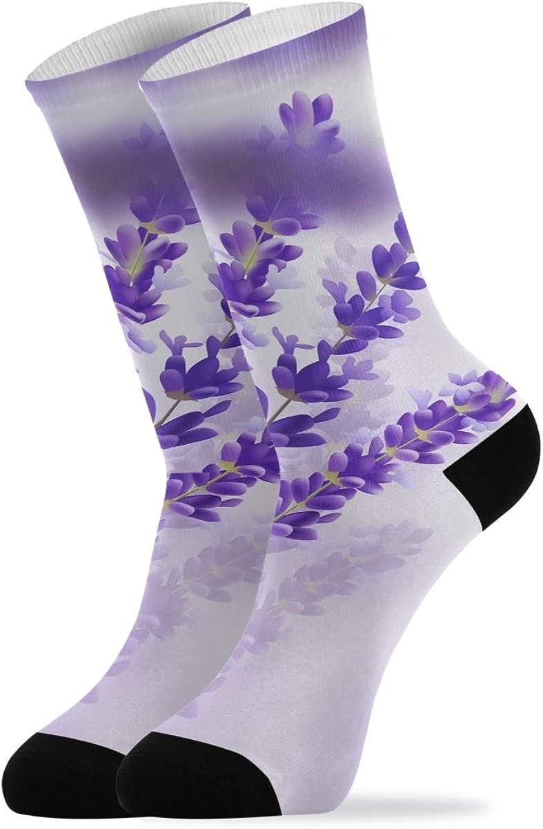 Casual Socks for Man Woman - Beautiful Lavender Flowers Purple Crew Socks Novelty Cushioned Socks 1 Pair