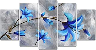 sechars - 5 Piece Canvas Wall Art Blue and Grey Flower Painting Print on Canvas Modern Living Room Decor Abstract Elegant Lily Floral Pictures Artwork Stretched and Framed