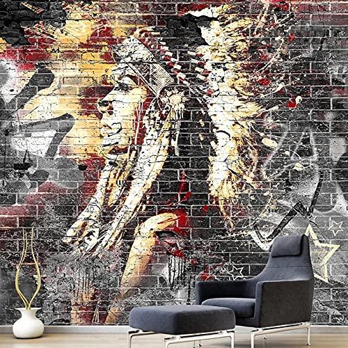 Fotomurales Wallpaper Murals 3D Graffiti Art Wood Grain Brick Wall Mural Retro Characteristic Cafe Restaurant Wall Seda 150X105Cm
