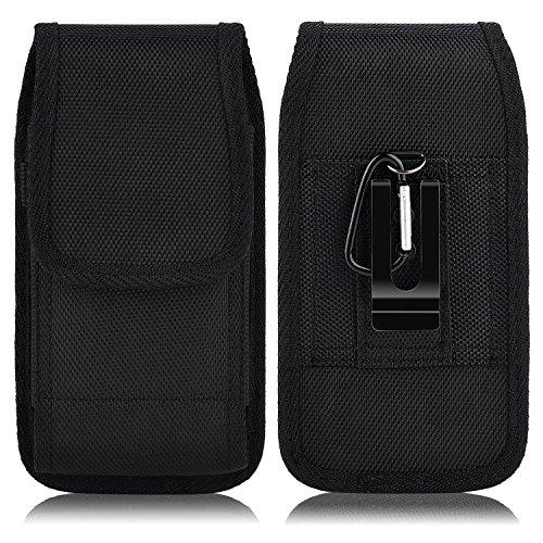 PLUS SIZE Pouch Case Holster for APPLE IPHONE 8 PLUS , IPHONE 7 PLUS , iPHONE 6 PLUS , iPHONE 6S PLUS [ 5.5''] ~ Heavy Duty Black Nylon Canvas Flap Vertical / Horizontal Case Belt Clip Holster + Hook