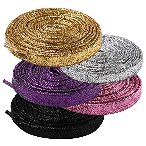 AYECEHI Shimmery glitter 42' Solid Colors Flat Shoelaces Flat Colored Shoe Laces Strings for Sneakers Skate Boots Sport - 5 Pairs