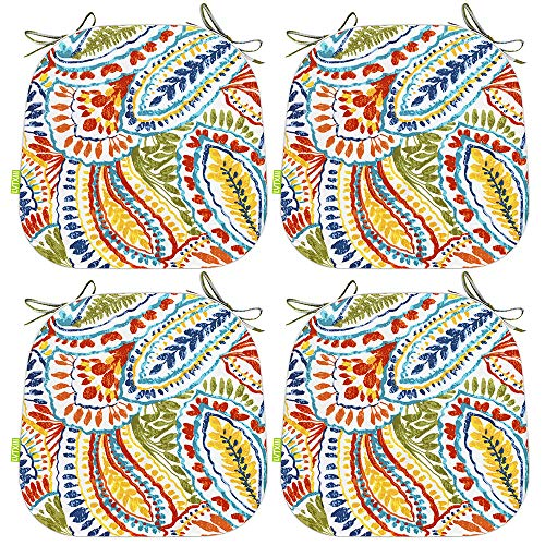 LVTXIII Seat Cushions All Weather Outdoor Chair Pads with Ties, Colorful Designed Patio Chair Pads for Patio Furniture Garden Home Office Decoration 16x17 Inch Set of 4, Paisley Ummi Multi