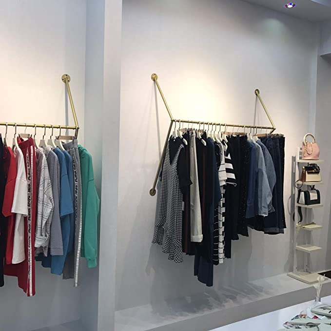 MZGH ISLAND mzgh Insel Industrie Vintage Clothing Store Garderobe Handtuch Rack 24 in Siehe Abbildung Ablagen Wandhalterung H/ängende Aufbewahrung Garment Rack Rohr Kleidung Display St/änder
