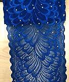 TR04 15 cm breite Stretch-Polyester Stickerei Pailletten Blumenmuster elastisch Spitzenbesatz DIY Handwerk alle Farben königsblau