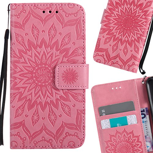 LEMORRY Handyhülle für Huawei Honor 7i / Shot X Case Leather Flip Wallet Pouch Slim Fit Bumper Protection Magnetic Strap Stand Card Slot Soft TPU Cover for Huawei Honor 7i, Blühen Rosa