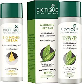 Biotique Bio Honey Cream Rejuvenating Body Wash, 190ml And Biotique Morning Nectar Flawless Skin Lotion for All Skin Type...