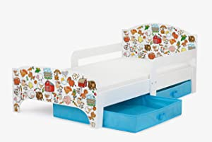Leomark Children s Kids Wooden White Bed with Farm Animals Cat Dog Stable Prints with Drawers Storage for Bedding and Foam Mattress 140 Junior Toddler Cot