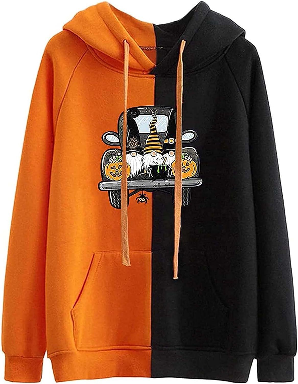 Women Halloween Loose Sweatshirt Hoodies Pumpkin Print E Girl Aesthetic Pullover Coat Streetwear Top