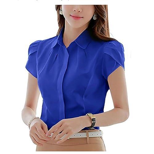 ca8c5862ef6 Putao World Women's Cotton Button Down Shirt Short Sleeve Pleated Blouse