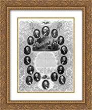 The Unanimous Declaration of The Thirteen United States of America 18x24 Double Matted Gold Ornate Framed Art Print