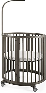 Stokke Sleepi Mini - 4-in-1 Oval Crib Suitable for 0-6 Months - Adjustable, Stylish & Compact - Optional Bed Extension to