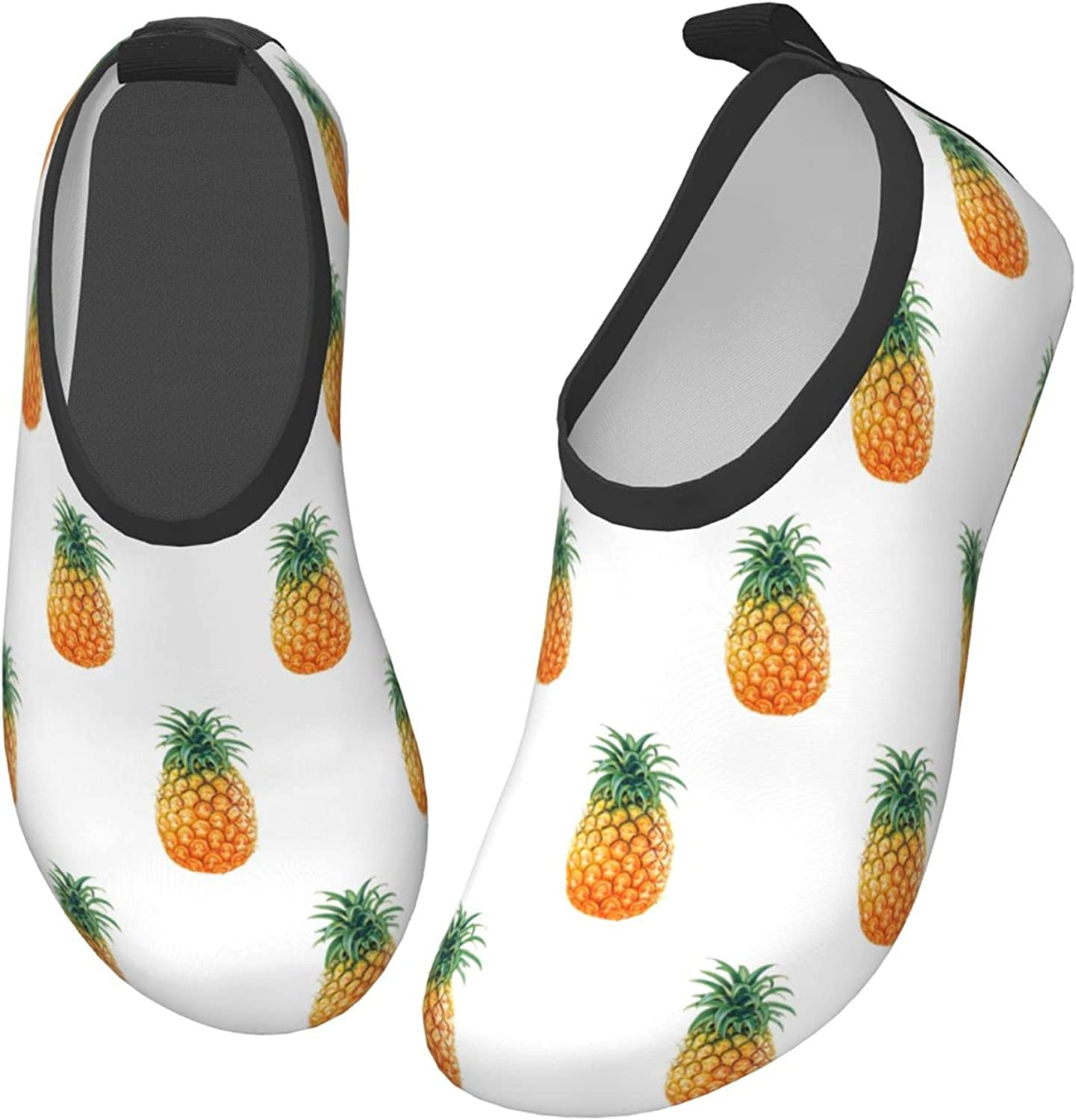 gkvuwhi Pineapple Pattern Non-Slip Kids Water Sports Shoes, Quick-Dry Cute Aqua Socks for Boys Girls Toddler, Outdoor Barefoot Beach Shoes for Swim Walking, Lightweight Surfing Shoes