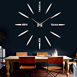 YISUNF Wall Clock Watches Clock Stickers DIY Acrylic Mirror 3D Home Decoration Quartz Balcony/Courtyard Modern Needle-B Wa...