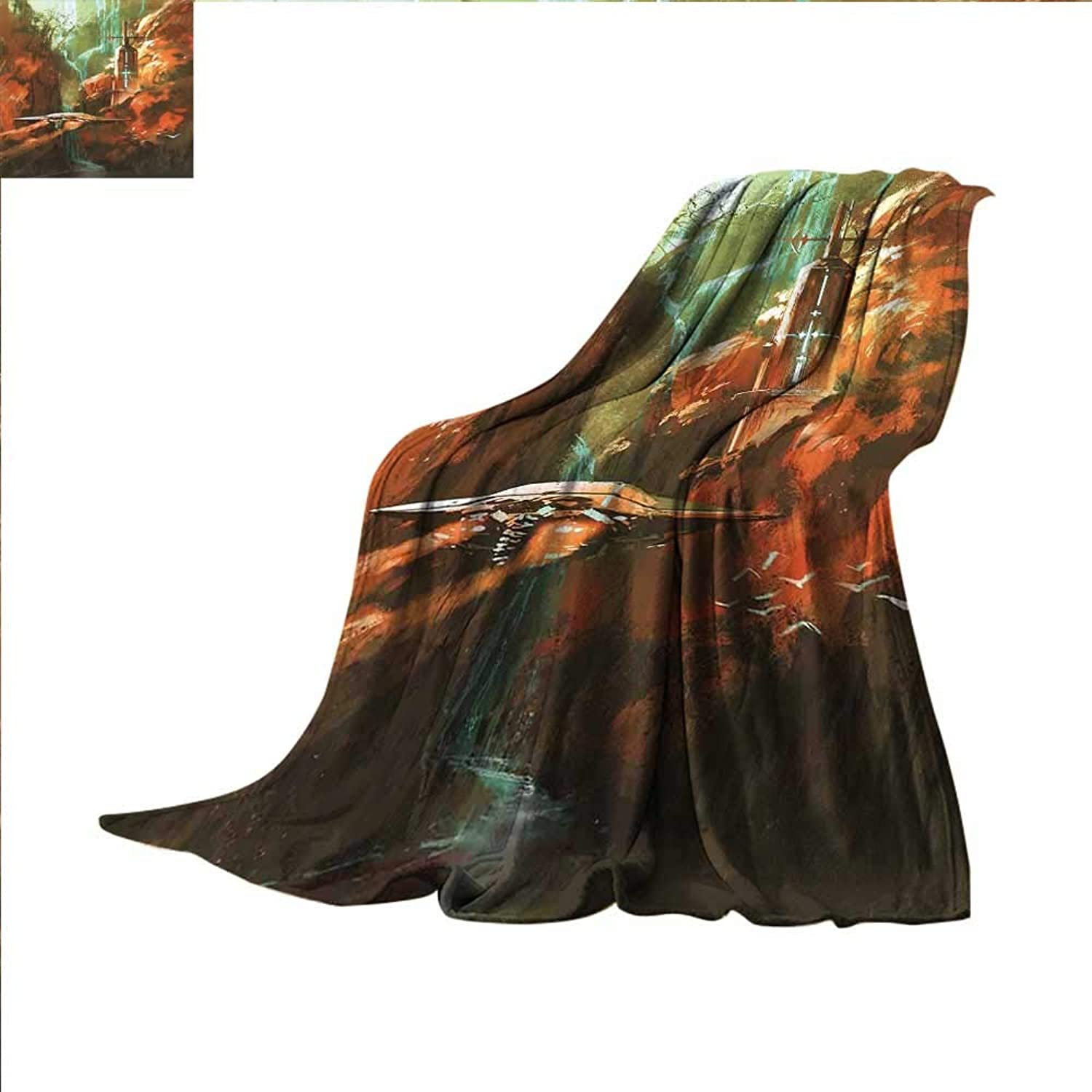 Smallbeefly Fantasy World Digital Printing Blanket Spaceship on Background of Waterfall Lighthouse and Red Canyon Fantasy Landscape Summer Quilt Comforter 60 x50  Brown