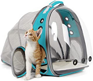 Cat Carrier Backpack, Expandable Pet Backpack for Small Dog, Space Capsule Bubble Transparent Clear Kitten Carrying Backpa...