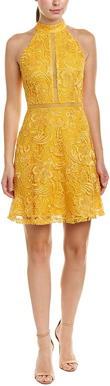 Alexia Admor Womens Mock Neck Fit & Flare Lace Dress