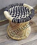 Handmakers Jute Natural Hand Made Bamboo Mudda Stool