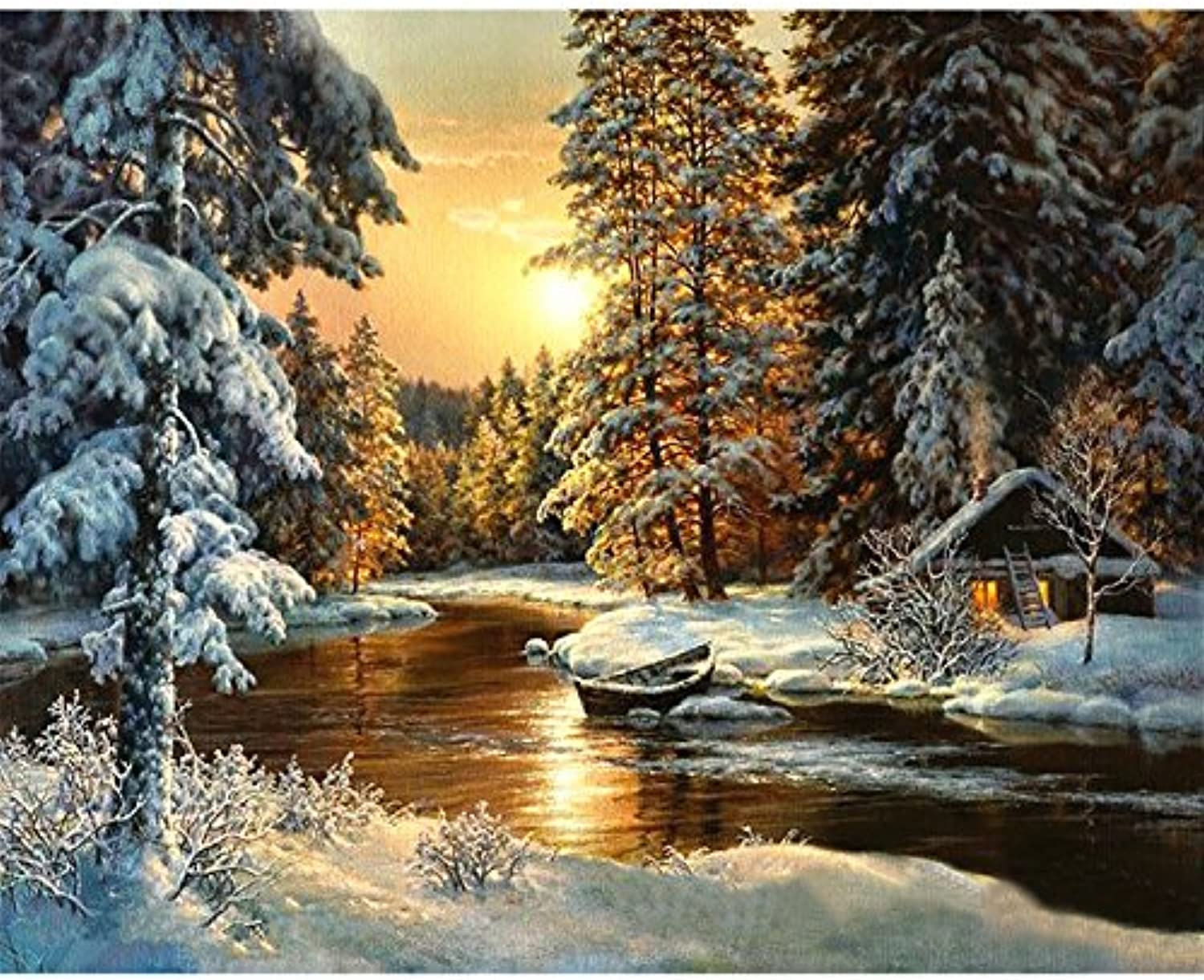 Tuwba Paint by Numbers Adult Kit Sunset Snow Scene Scenery Beginner Acrylic On Canvas,Framed 40X50Cm
