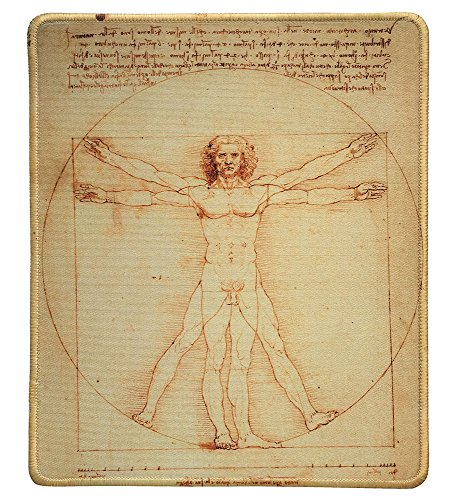 dealzEpic - Art Mousepad - Natural Rubber Mouse Pad with Famous Painting of Vitruvian Man by Leonardo da Vinci - Stitched Edges - 9.5x7.9 inches