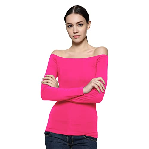 bd12bb5af51 Women's Long Sleeve Pink Off The Shoulder Tops: Amazon.com