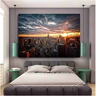 HXJLMAC New York City Sunset View Canvas Paintings On The Wall Art Posters And Prints Skyline Of Wall Pictures Home Decora...