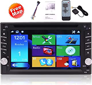 Car Stereo with Capacitive Touchscreen GPS Map Double Din 6.2 Inch LCD Touchscreen Monitor, Bluetooth, GPS Nav, MP3, USB, Aux, AM/FM Radio Receiver, Steering Wheel Controls, CAM-in