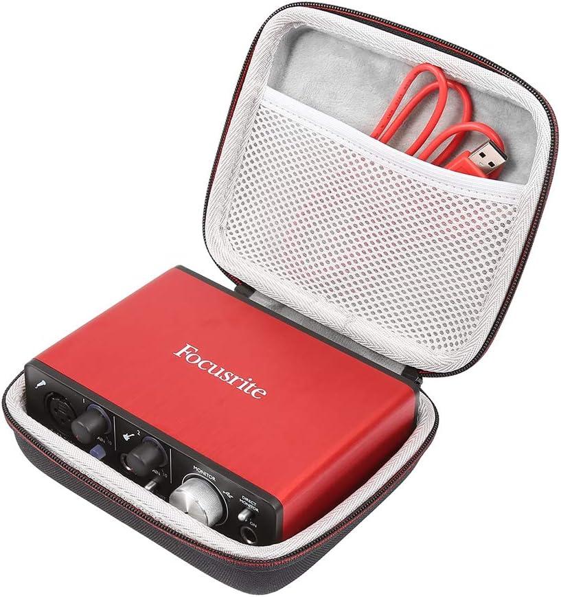 LuckyNV almacenamiento Bolsa dura viaje EVA compatible con Focusrite Audio Interface Solo