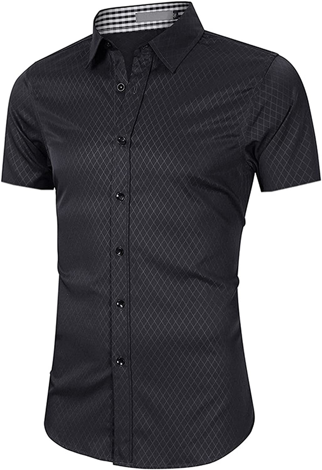 HEXILIN Men's Short Sleeve Henley Shirt Casual Button Down Slimming Blouse Fashion Summer Breathable Business Blouse