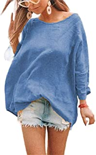 GAGA Women's Cotton Linen Leisure Long Sleeve Loose Fit Round Neck Blouse Tops T-Shirts