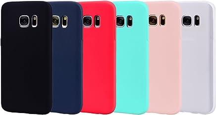 Leton 6X Funda para Samsung Galaxy S7 Edge Silicona Ultrafina Case Suave Flexible TPU Carcasa Galaxy S7 Edge Ultra Delgado Gel Caja Anti Choque Candy Cubierta Jalea Bumper Negro Rojo Verde Rosa