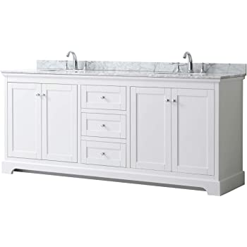 Wyndham Collection Avery 80 Inch Double Bathroom Vanity in White, White Carrara Marble Countertop, Undermount Oval Sinks, and No Mirror