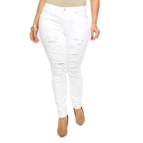 85a13506670a4 Jack David GAZOZ  926 Womens Plus Size Distressed Knee Hole Ripped Stretch  Jeans Skinny