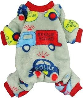 Fitwarm Cars Pet Clothes Dog Pajamas Coat Cat PJS Jumpsuit Soft Velvet