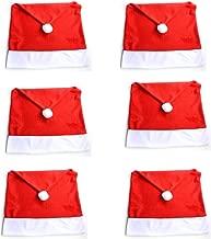 6 Coprisedia a Cappello di Babbo Natale per Tavolo Natalizio