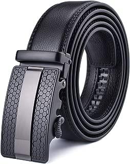 Men's Ratchet Belt with Genuine Leather, Slide Belt for men 1 3/8 inches Wide