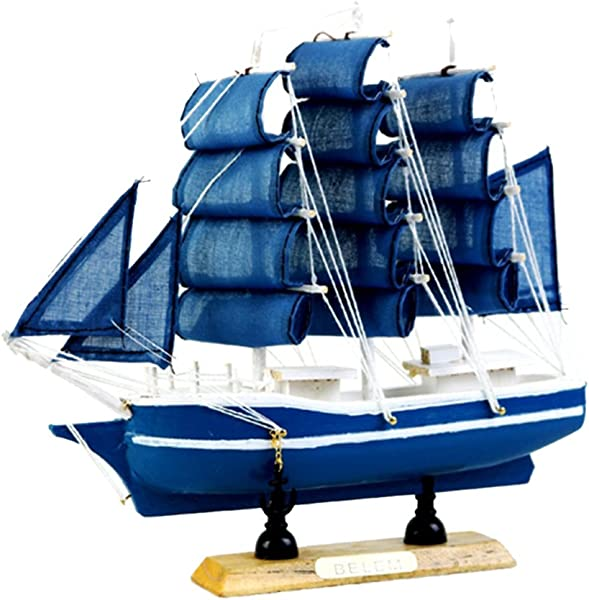 LoveinDIY Handmade Mediterranean Style Statue Wooden Sailboat Table Decor Model Boat C