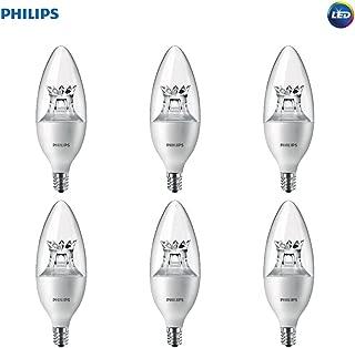 Philips LED Dimmable B12 Soft White Light Bulb with Warm Glow Effect 330-Lumen, 2700-2200-Kelvin, 4.5-Watt (40-Watt Equivalent), E12 Base, Clear, 6-Pack