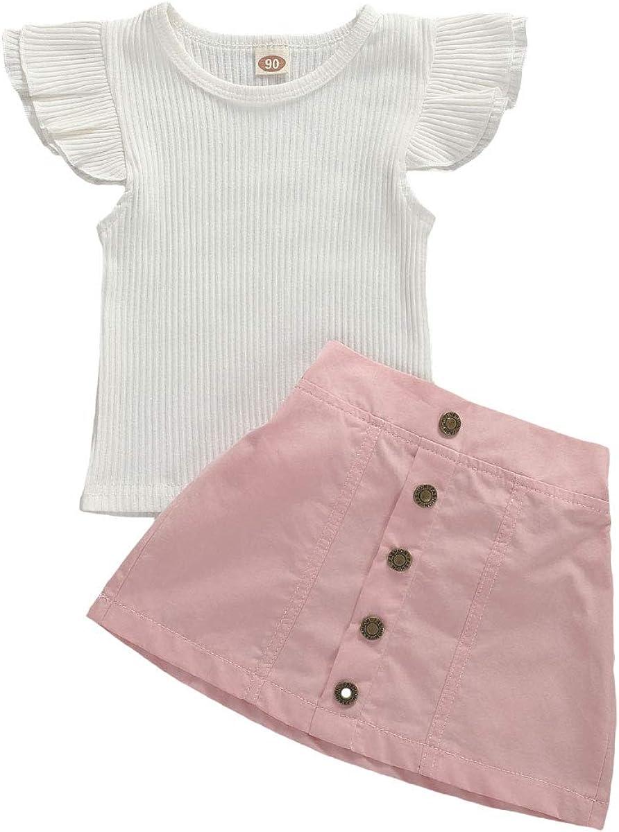 2021 new 2Pcs Girls Summer Clothes Ruffle Sleeve Button Skirt Virginia Beach Mall Top + Knit