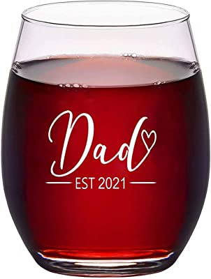 New Dad Gift - Dad EST 2021 Stemless Wine Glass and Beer Glass Set for Dad To Be Dad Friend, Perfect Present for Father's Day Baby Shower Christmas Birthday Daily Use